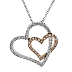 Modern Ladies 14K Two-Tone Gold Diamond Necklace & Double Heart Pendant Set - NEW