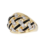 Exquisite Modern 14K Yellow Gold Womens Ladies Diamond & Black Onyx Ring - New