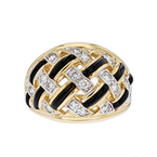 Exquisite Modern 14K Yellow Gold Womens Ladies Diamond & Black Onyx Ring - New