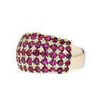Gorgeous Modern 14K Yellow Gold Diamond & Red Ruby Ladies Ring - Brand New