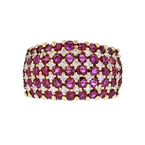 Gorgeous Modern 14K Yellow Gold Diamond & Red Ruby Ladies Ring - Brand New