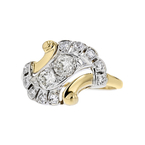 Exquisite Modern Ladies 14K Yellow & White Gold Diamond Ring - Brand New