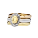 Stylish Modern 14K Three-Tone White, Yellow, Rose Gold Diamond Ladies Ring - New
