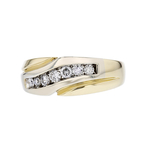 Elegant Modern 14K Yellow Gold Ladies Sparkling Diamond Ring - Brand New
