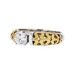 Stylish Modern Ladies 18K White & Yellow Gold Sparkling Diamond Ring - Brand New