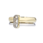 Elegant Modern Ladies 14K Two Tone White & Yellow Gold Lite Brown Diamond Ring
