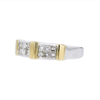 Ladies Elegant Modern 14K White & Yellow Gold Princess Cut Diamond Ring - New