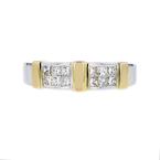 Ladies Elegant Modern 14K White & Yellow Gold Princess Cut Diamond Ring - New