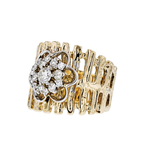 Gorgeous Modern 14K Yellow Gold Diamond Ladies Rosette Flower Design Ring - New