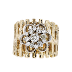 Gorgeous Modern 14K Yellow Gold Diamond Ladies Rosette Flower Design Ring - New