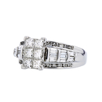 Stunning Modern 14K White Gold Ladies Diamond Cluster Ring - 1.69CTW - New