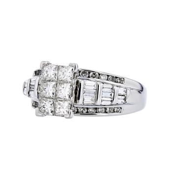 Stunning Modern 14K White Gold Ladies Diamond Cluster Ring - 1.69CTW - New