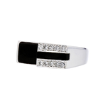 Stylish Modern 14K White Gold Diamond & Black Onyx Womens Ladies Ring - New