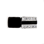 Stylish Modern 14K White Gold Diamond & Black Onyx Womens Ladies Ring - New