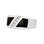 Elegant Modern 14K White Gold Diamond & Black Onyx Ladies Ring - Brand New