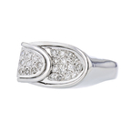 Stylish Modern 14K White Gold Ladies Diamond Ring - Brand New