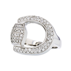 Exquisite Modern 14K White Gold Ladies Diamond Statement Ring - 1.26CTW - New