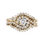 Charming Modern 14K Yellow Gold Sparkling Diamond Ladies Swirl Ring - Brand New