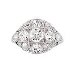 Gorgeous Modern Platinum Diamond Ladies Statement Ring - 2.20CTW - New