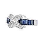 Stylish Modern Ladies 14K White Gold Diamond & Blue Sapphire Ring - Brand New