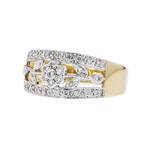 Charming Modern Ladies 14K Two-Tone Gold Floral Design Diamond Ring - Brand New