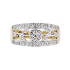 Charming Modern Ladies 14K Two-Tone Gold Floral Design Diamond Ring - Brand New