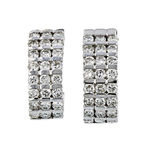 Gorgeous Modern Ladies 14K White Gold Diamond Huggie Hoops Earrings - 1.95CTW - New