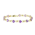 Classic Estate 14K Yellow Gold Purple Heart Amethyst Gemstone Ladies Bracelet