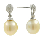 Vintage Estate 10K White Gold Cultured Pearl Diamond Elegant Ladies Earrings