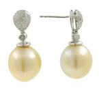 Vintage Estate 10K White Gold Cultured Pearl Diamond Elegant Ladies Earrings