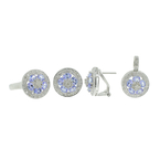 Estate 14K White Gold Diamond & Iolite Ladies Ring Earring Pendant Set 4.65CTW