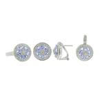 Estate 14K White Gold Diamond & Iolite Ladies Ring Earring Pendant Set 4.65CTW