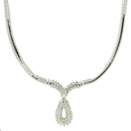 "Retro Vintage Estate 14K White Gold Diamond 16"" Flat Omega Necklace - 1.75CTW"