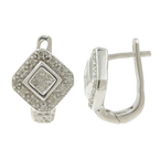 Vintage Estate 14K White Gold Princess Cut Diamond Huggie Hoog Earrings - 0.52CT