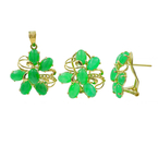 Estate Ladies 14K Yellow Gold Jade Cabochon Omega Back Earrings Pendants set