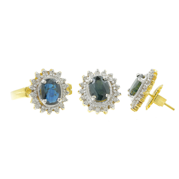 Ladies Estate 14K Yellow Gold Blue Topaz & Diamond Halo Earrings & Ring Set