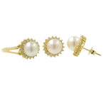 Fancy Classic Estate 14K Yellow Gold Pearl Diamond Halo Ladies Ring Earrings Set