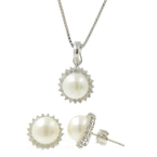 Estate 14K White Gold Cultured Pearl Diamond Halo Ladies Chain Pendant Earrings