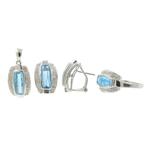 Estate 14K White Gold Diamond & Topaz Ladies Ring Earring Pendant Set - 6.45CTW