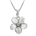 Charming Modern Ladies 14K White Gold Diamond Necklace & Floral Pendant Set NEW
