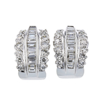 Exquisite Modern Ladies 18K White Gold Diamond Earrings - 3.82CTW - Brand New