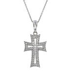 Beautiful Modern 14K White Gold Diamond Necklace & Cross Pendant Set - Brand New