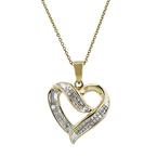 Charming Ladies 10K Yellow Gold Heart-Shaped Diamond Necklace & Pendant Set NEW