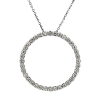 Modern Ladies 10K White Gold Lite Brown Diamond Necklace & Circle Pendant Set