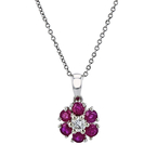 Modern Ladies 10K White Gold Dark Red Ruby & Diamond Necklace & Pendant Set NEW