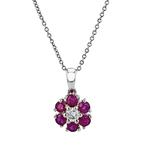 Modern Ladies 10K White Gold Dark Red Ruby & Diamond Necklace & Pendant Set NEW