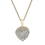 Charming Modern 10K Yellow Gold Diamond Necklace & Heart-Shaped Pendant Set NEW