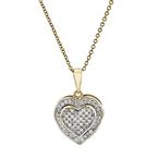 Charming Modern 10K Yellow Gold Diamond Necklace & Heart-Shaped Pendant Set NEW