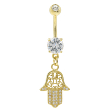 Gold Plated Hamsa Hand Of Fatima Navel Belly Ring White Glass Stones