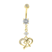 Gold Plated Heart-Shaped Navel Belly Ring Dangling White Glass Stones